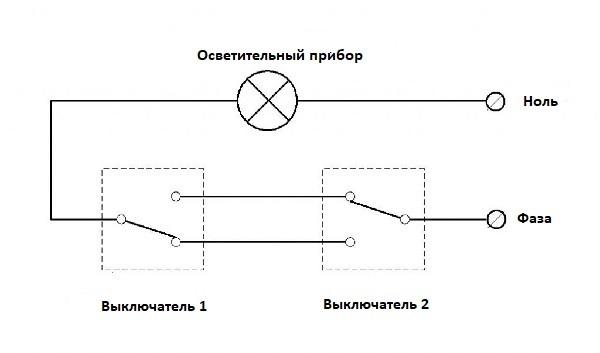 схема проходного переключателя собираем сами