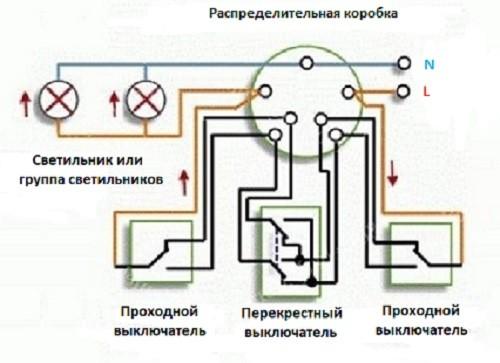 Схема проходного выключателя из трех мест 1