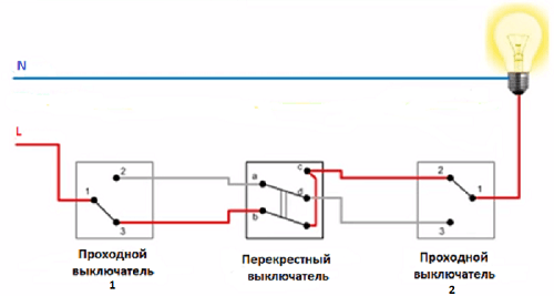 Схема проходного выключателя из трех мест-4
