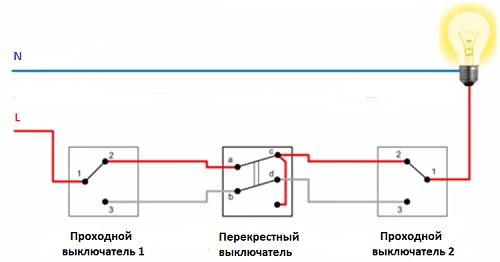 Схема проходного выключателя из трех мест-6