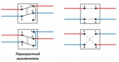 Схема проходного выключателя из трех мест-2