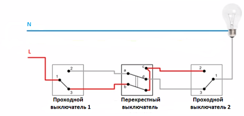 Схема проходного выключателя из трех мест -3