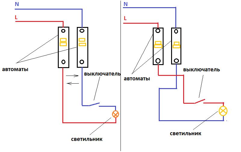 Фаза или ноль на выключатель? Что будет если сделать неправильно